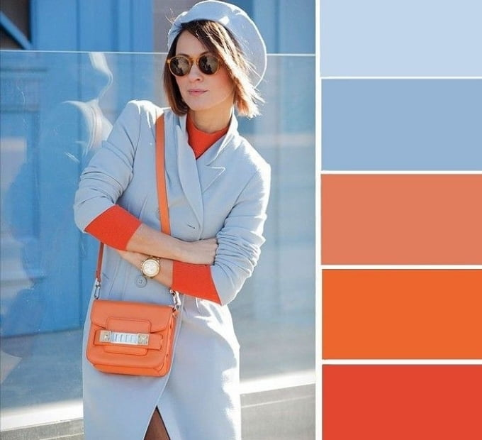 Cách phối màu xanh dương với màu cam