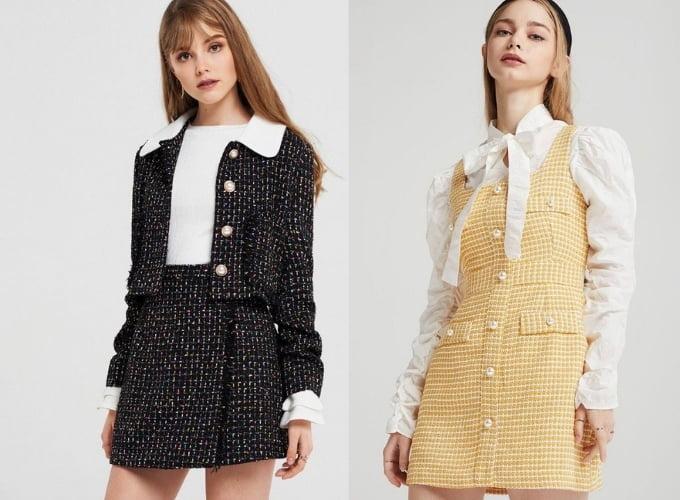 Đầm chất liệu tweed mặc cùng áo cổ lọ ấm áp cho mùa Thu – Đông