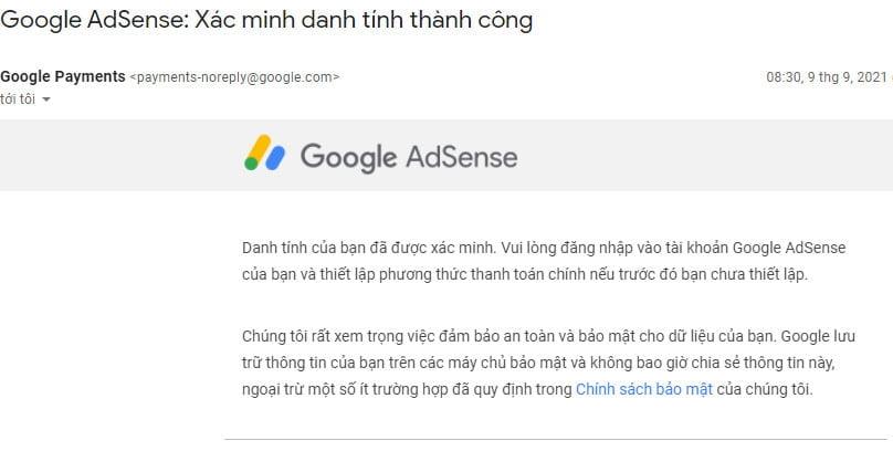 Hình ảnh xác minh danh tính google adsense thành công